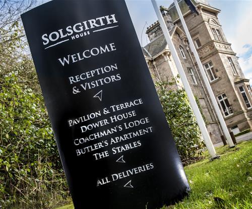 Solsgirth House monolith directional signage