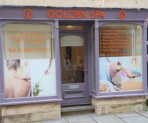 Window Graphics and Exterior Signage for Golden Spa