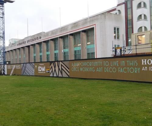 View of hoarding marketing The Hoover Building development