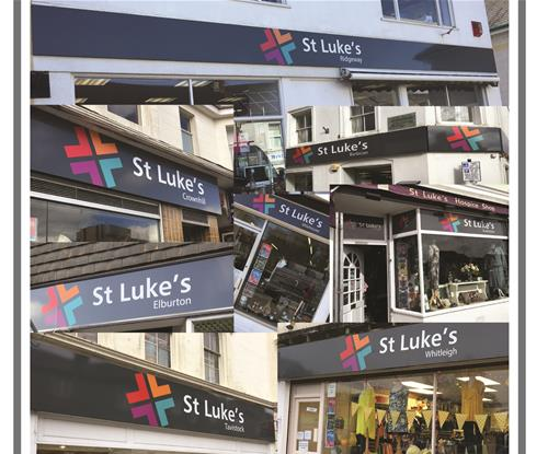 Montage of St Luke's Hospice charity shops re-brand