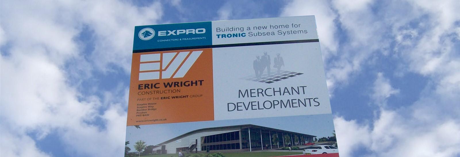 Large construction site signage