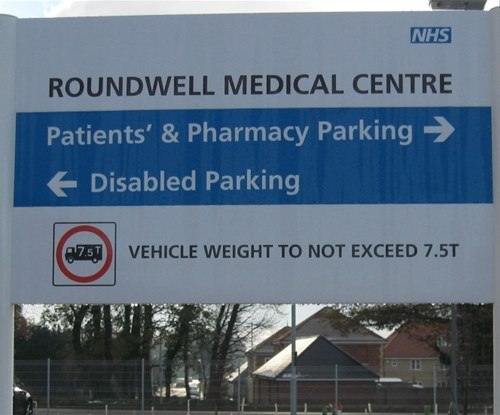 Roundwell Medical Centre exterior site signs