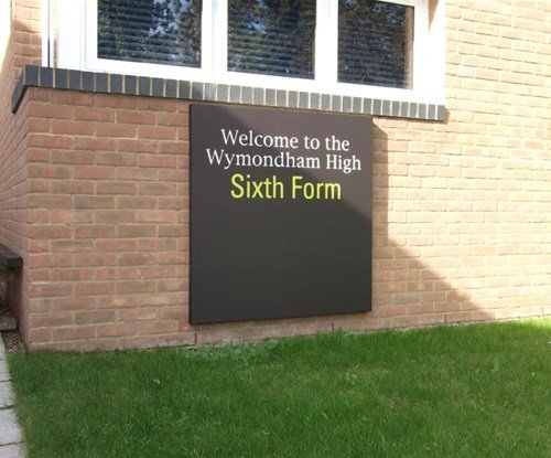 Entrance sign for sixth form block