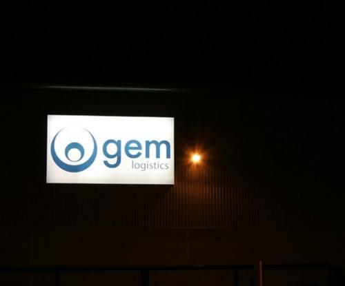 Illuminated exterior signage for Gem Logistics