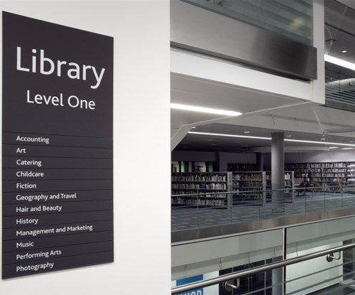 Gateshead College Library directory sign
