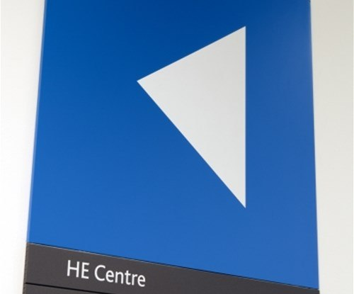 Gateshead College interior directory sign