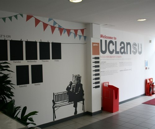 Decorative displays applied to Students Union UCLan in Preston
