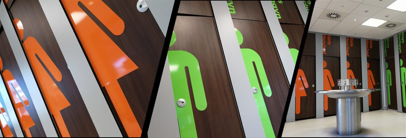 Vinyl applied to toilet cubicle doors