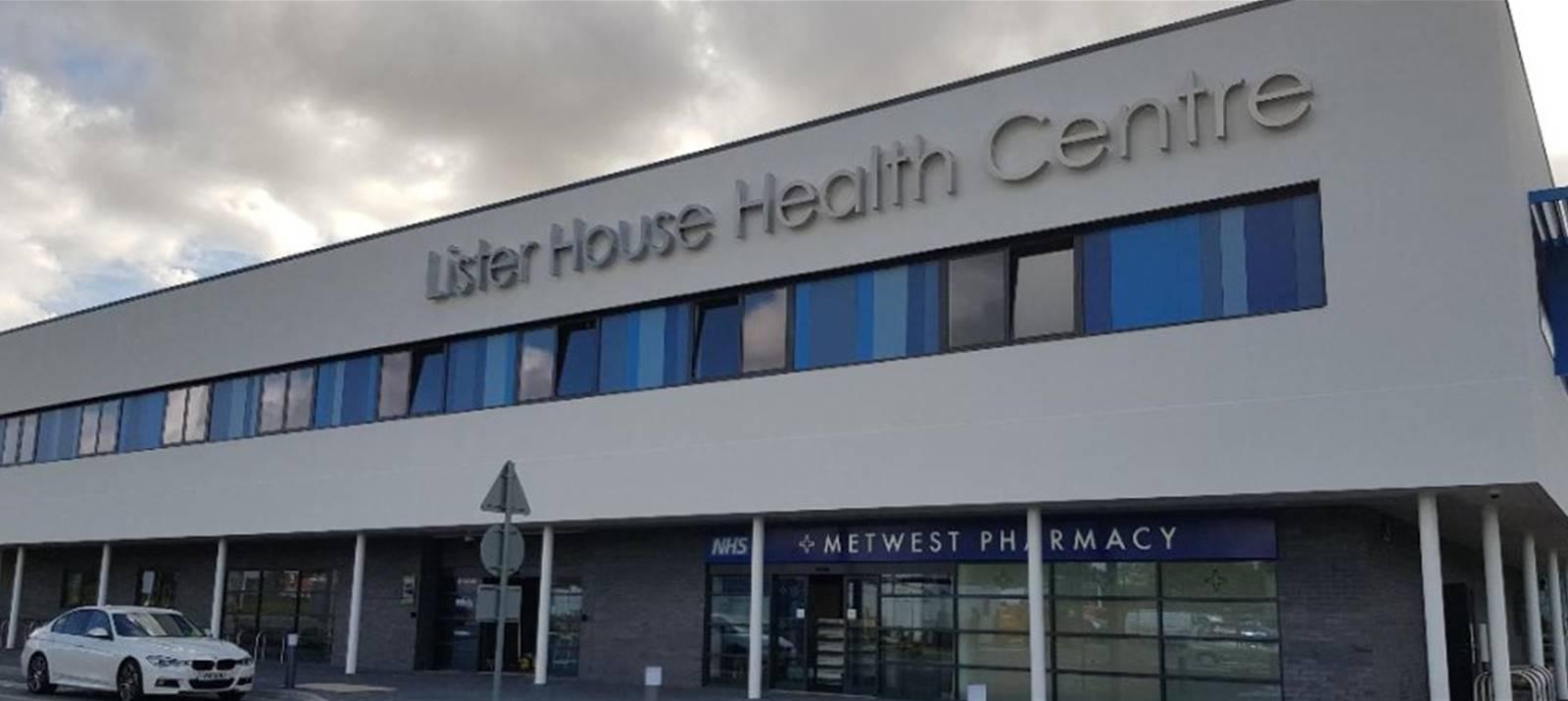 Lister House Health Centre main sign