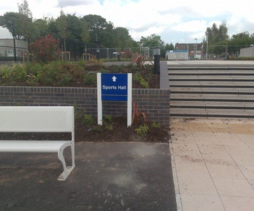 Archbishop Grimshaw Catholic School exterior panel and post directional sign