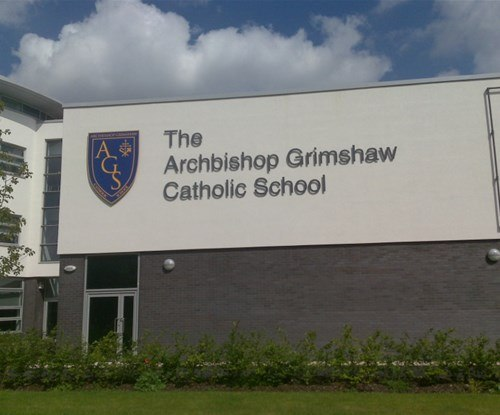 Archbishop Grimshaw Catholic School stainless steel stand off lettering