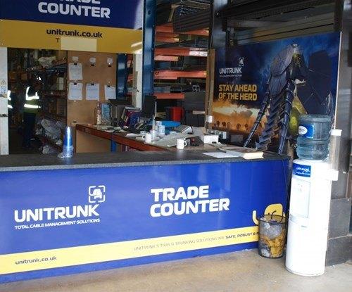 Unitrunk trade counter and interior signage