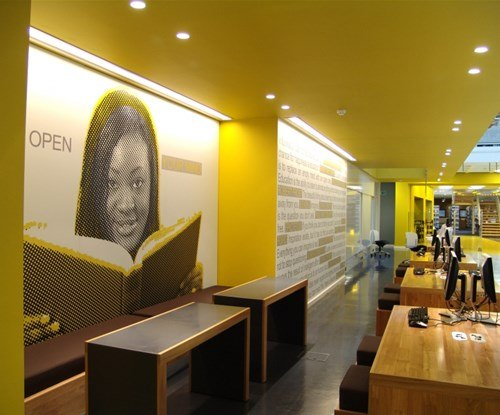 Anglia Ruskin University large format digital printed wall graphics applied to acrylic panels