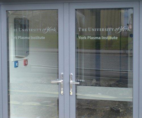 Signs Express - University of York Plasma Institute - Door lettering