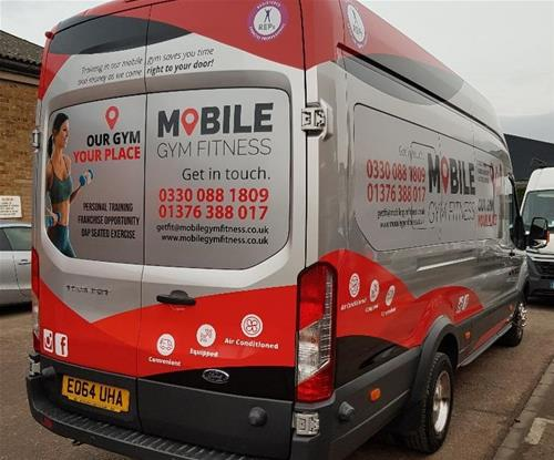 Printed contravision to all windows of the Mobile Gym