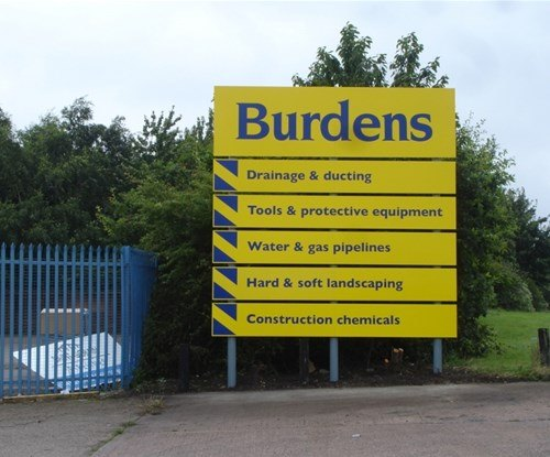 Burdens' panel and post sign