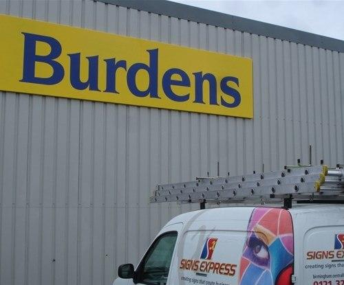 Burdens' warehouse building sign
