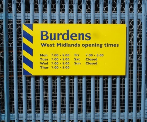 Burdens' panel opening times sign