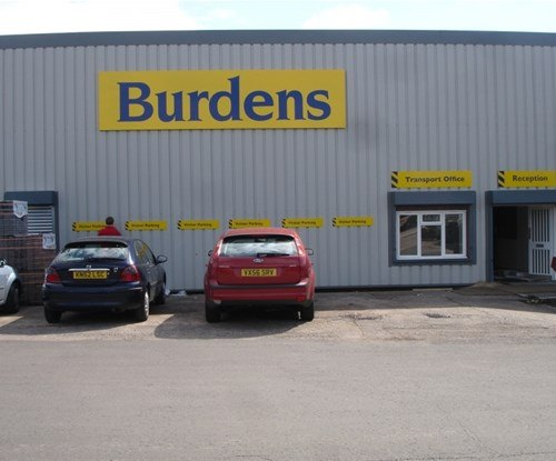 Burdens' building sign and parking plaques