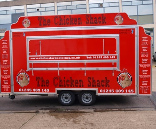 'The Chicken Shack' front of completed trailer