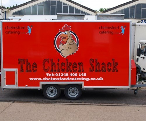 Rear of completed catering trailer