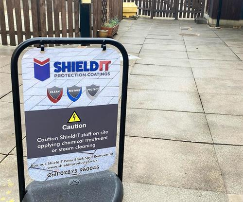 Pro Shield It, swing sign with aluminum panel, laminated graphic print