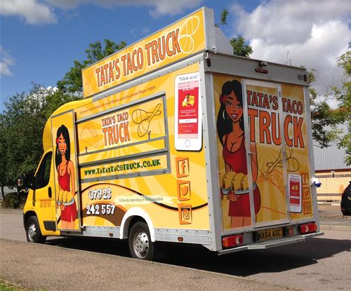 Tata's Taco Truck wrap was created in-house