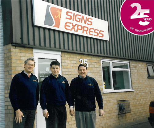 The original founders of Signs Express: Frank Eliel (left) and David Corbett (right) with first employee Craig Brown (middle)