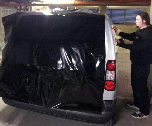 IDM Rear of vehicle being wrapped
