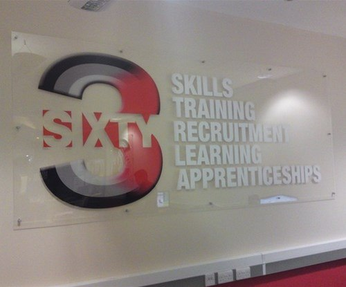 To promote 360 recruitment and training apprenticeships at Epping Forest College, an internal wall mounted 3m x 1.2m acrylic panel applied with full colour graphics