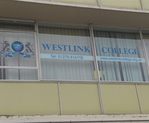 Reverse cut window graphics installed for  the Harlow based international further education provider Westlink College
