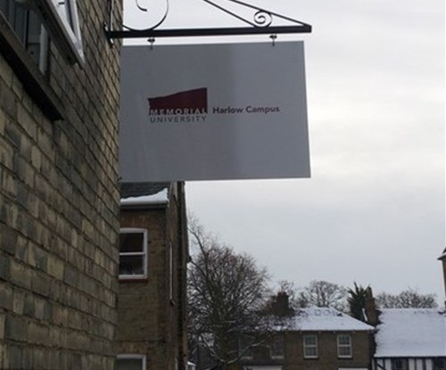 Projecting sign to display location of Memorial University at the historic building of The Maltings