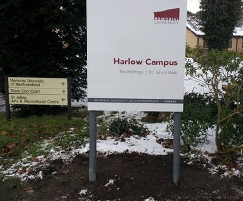 Main entrance sign for the Memorial University in Old Harlow