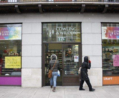 Exterior sign for art and crafts specialist Cowling & Wilcox