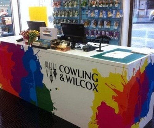 Interior signs for art and crafts specialist Cowling & Wilcox