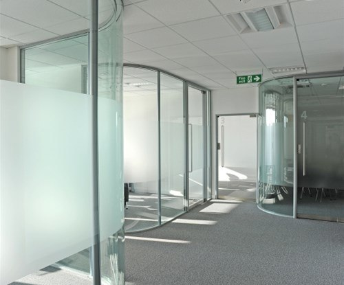 Glass privacy panels on the conference rooms