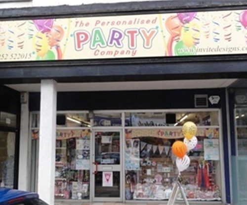 The Personalised Party Company exterior shop sign