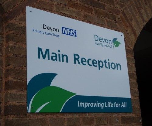Devon County Council panel reception sign