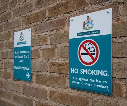 Devon County Council no smoking sign