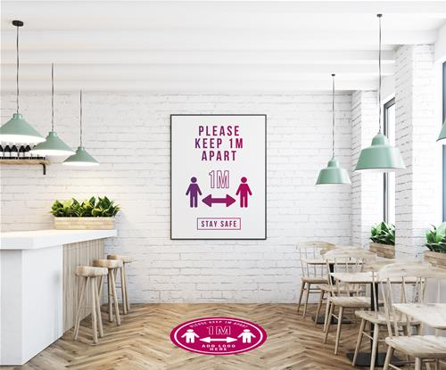 1 metre social distancing floor graphic and poster