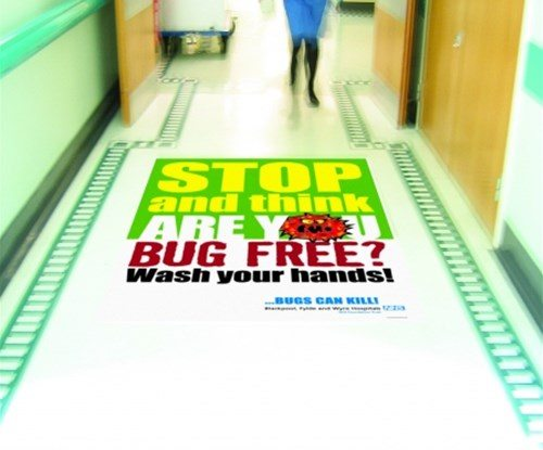 Floor graphics as part of Blackpool Victoria Hospital's 'Ban the bugs' campaign