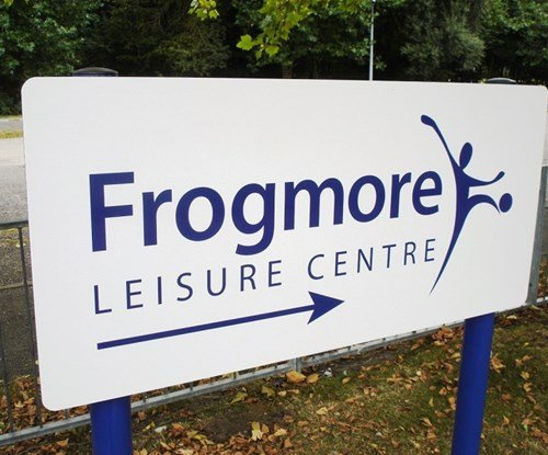 Frogmore Leisure Centre wayfinding panel and post