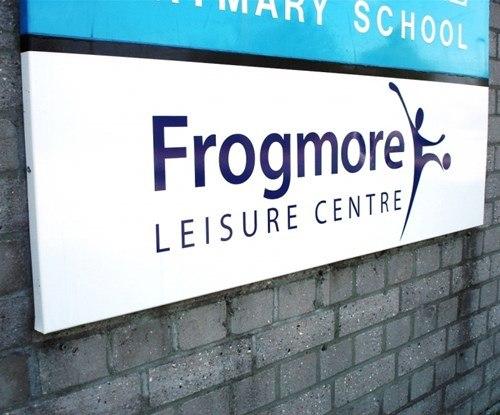 Frogmore Leisure Centre aluminium tray building sign