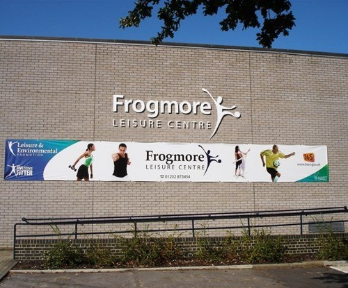 Frogmore Leisure Centre stand off lettering building sign & banner advertising
