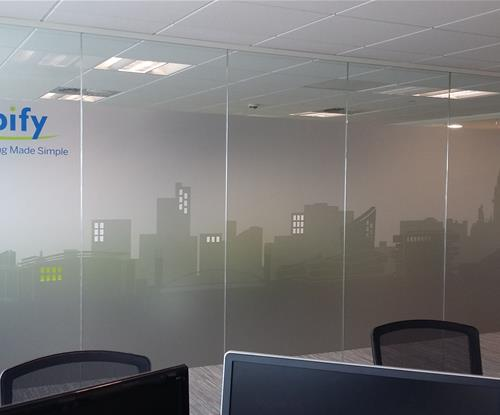 Printed etched glass window vinyl