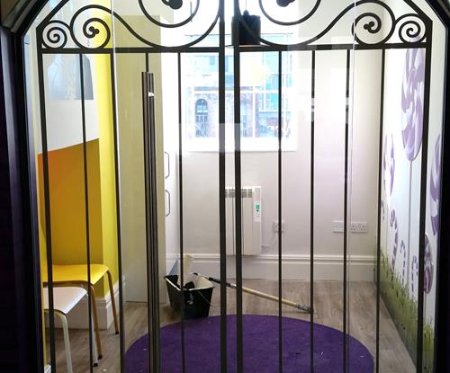 Gate effect vinyls applied to the doors