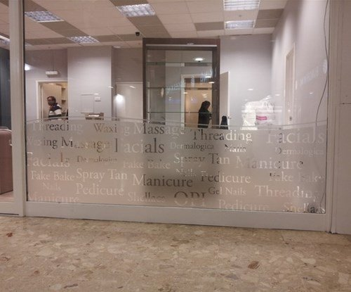 Frosted vinyl window graphics