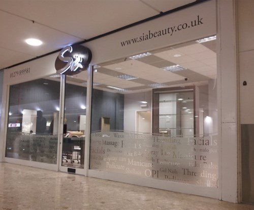 Fascia and window graphics at Sia Beauty located within The Harvey Centre, Harlow