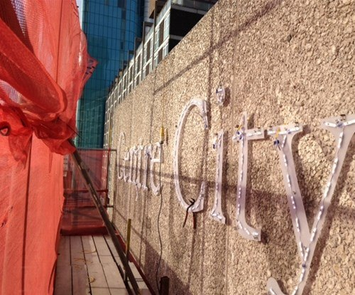 Working at height to install striking new signage for Centre City