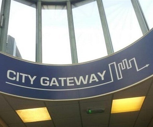 4 Metre Internal Curved Sign installed at height
